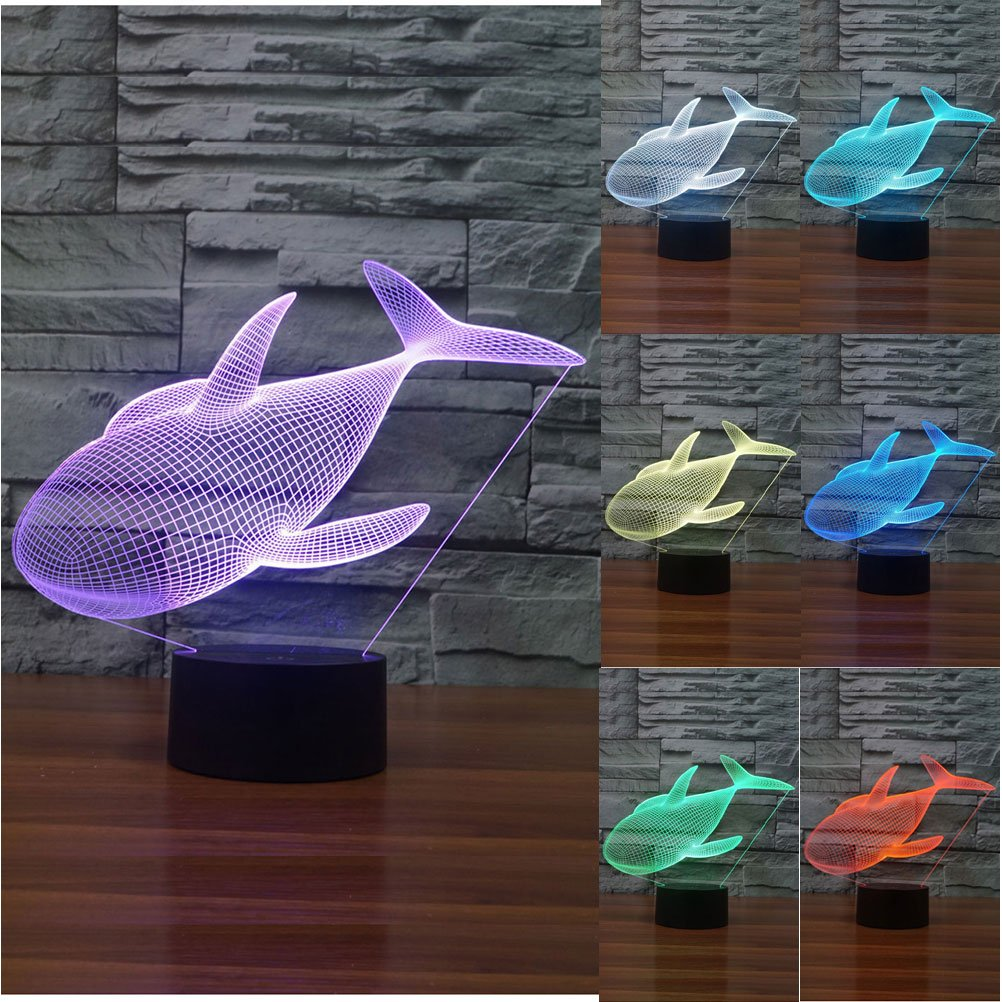 ZLTFashion 3D Visual Optical Illusion Colorful LED Table Lamp Touch...