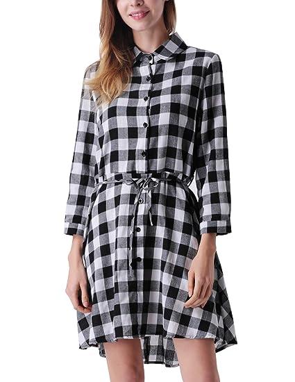 0a404b2eabb Mavis Laven Plaid Shirt Dress Black and White Irregular Hem Casual T Shirt  Dress for Women