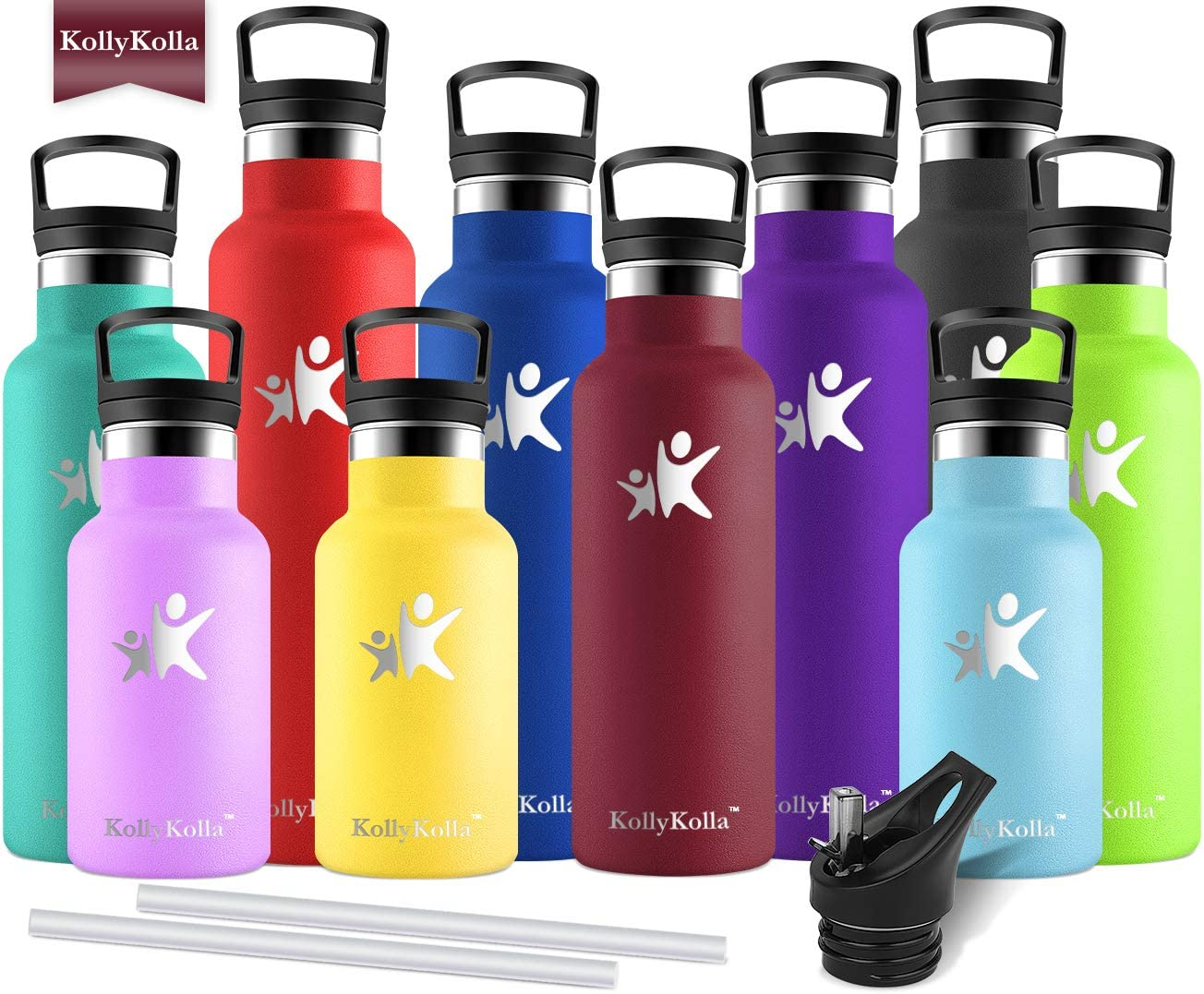KollyKolla Stainless Steel Vacuum Insulated Water Bottle with Straw 12//17//20//25//32 oz BPA Free Metal Reusable Water Bottle Doubled Walled Keeps Hot /& Cold Leak Proof Drinks Bottle Kids Thermoflask
