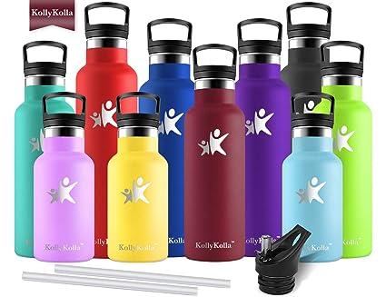 KollyKolla Botella de Agua Acero Inoxidable, Termo Sin BPA Ecológica Reutilizables, Botellas Termica con Pajita y Filtro, Water Bottle para Niños ...