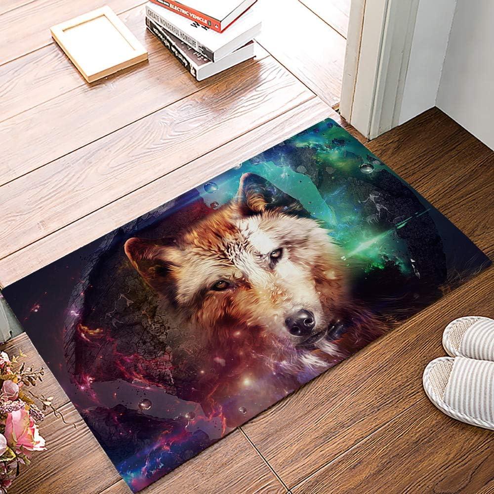 Leotear Entrance Door Mat Non-Slip Rubber Backing Indoor Doormat - Mystic Universe Wolf Waterproof Low-Profile Mats Floor Rugs for Entry Bathroom 16x24 inches
