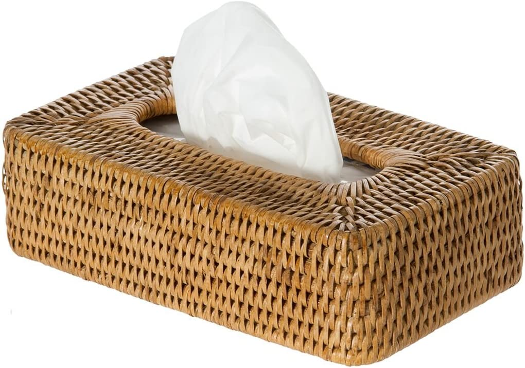 Honey Brown Tissue Box Cover KOUBOO La Jolla Rattan Rectangular