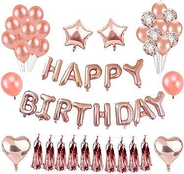 """Herefun Deko Geburtstag Geburtstagsdeko Mädchen Rosegold mit 16"""" Happy Birth"""