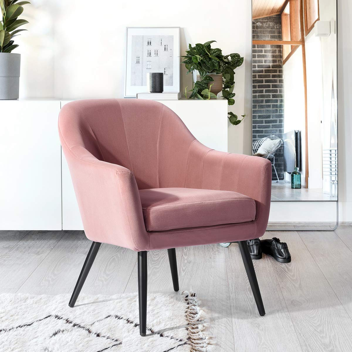 Pink HOMEMAKE Accent Chair Mid-Century Modern Fabric Thick Padded Arm Chair Metal Frame Legs (Green)