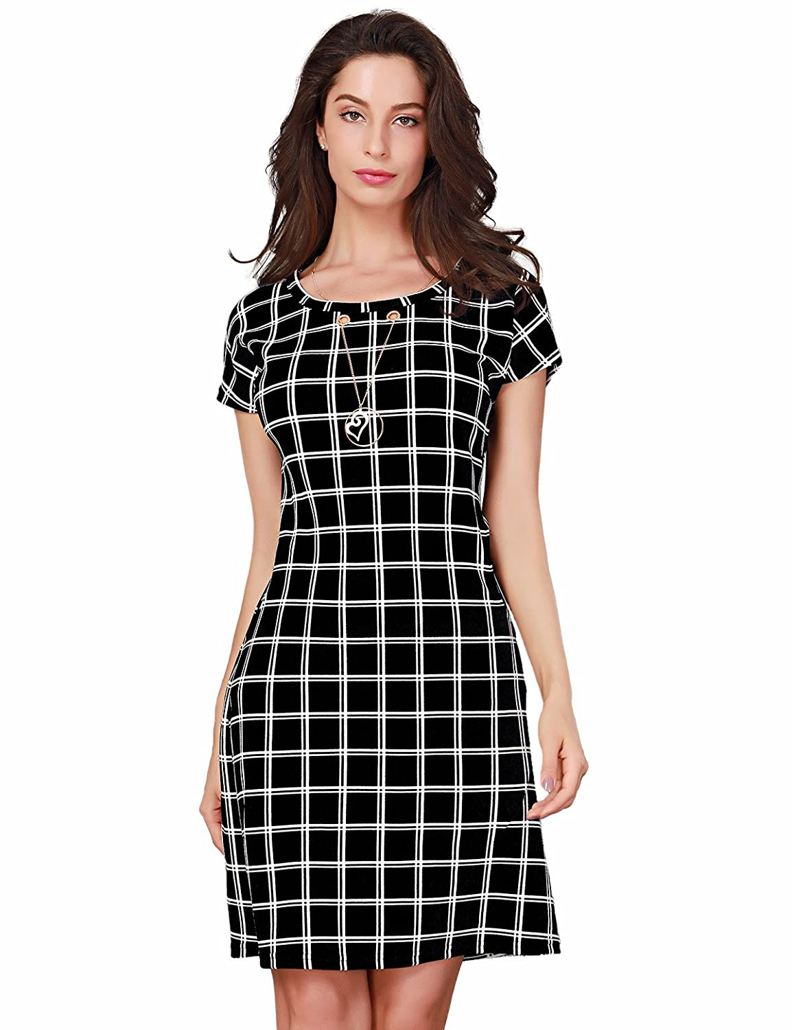 Black Triplewood Women's Elegant Short Sleeve Wear to Work Casual Business Check Dress with Pocket