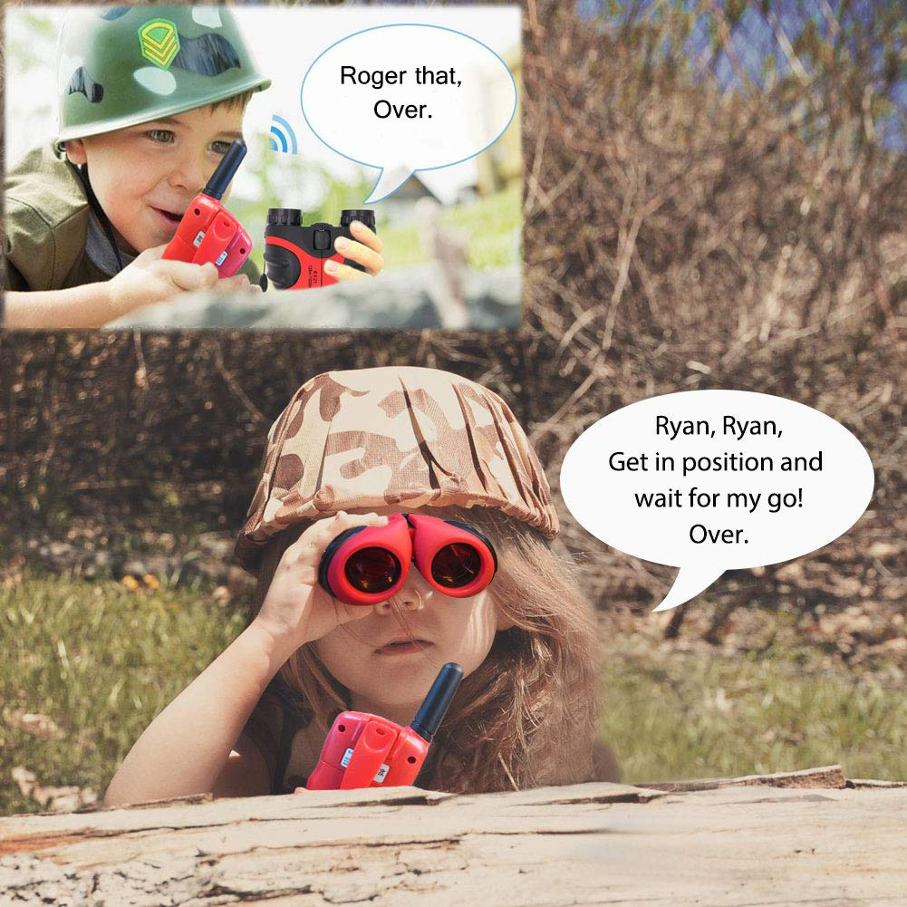 XIYITOY Compact 8x21 Shock Proof Binoculars Toys for 7 8 Year Old Boys, Long Range Kids Walkies Talkies for Outdoor Travel Hunting Boy Gifts Age 3-12 Girls &Gifts Age 3-12(Red) by XIYITOY (Image #3)