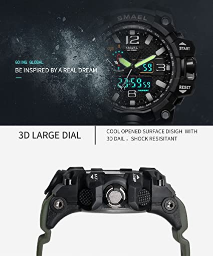 Amazon.com: Men Digital Watch Large Electronic Wristwatch Stopwatch Red Camo: Watches