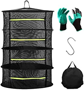 LEFOR·Z Plant Drying Rack,4 Layers Mesh Hanging Dry Net for Drying Herbs, Beans,Food, Plants, Petals in Green Zipper, Garden Gloves Included