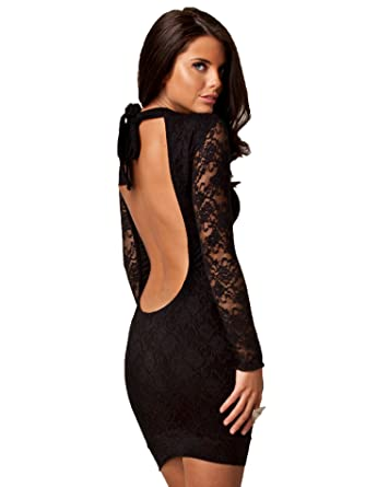 Honor Gold Pamela Lace Backless Halterneck Bodycon Party Club Prom Dress (Small: UK 8