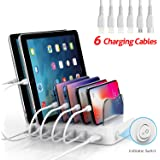 SooPii Premium 6-Port USB Charging Station Organizer for Multiple Devices, 6 Charging Cables Included, for Phones, Tablets, and Other Electronics