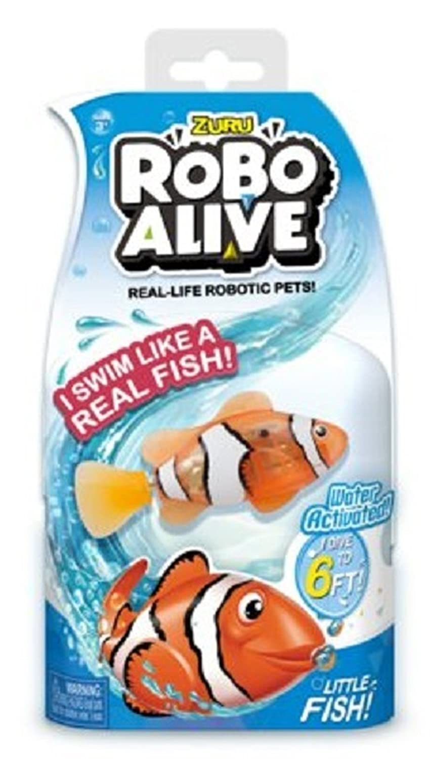 New Zuru Robo Alive Little Fish Collection Real-Life Robotic Pets Water Activated LITTLE CLOWNFISH Swims like a Real Fish an