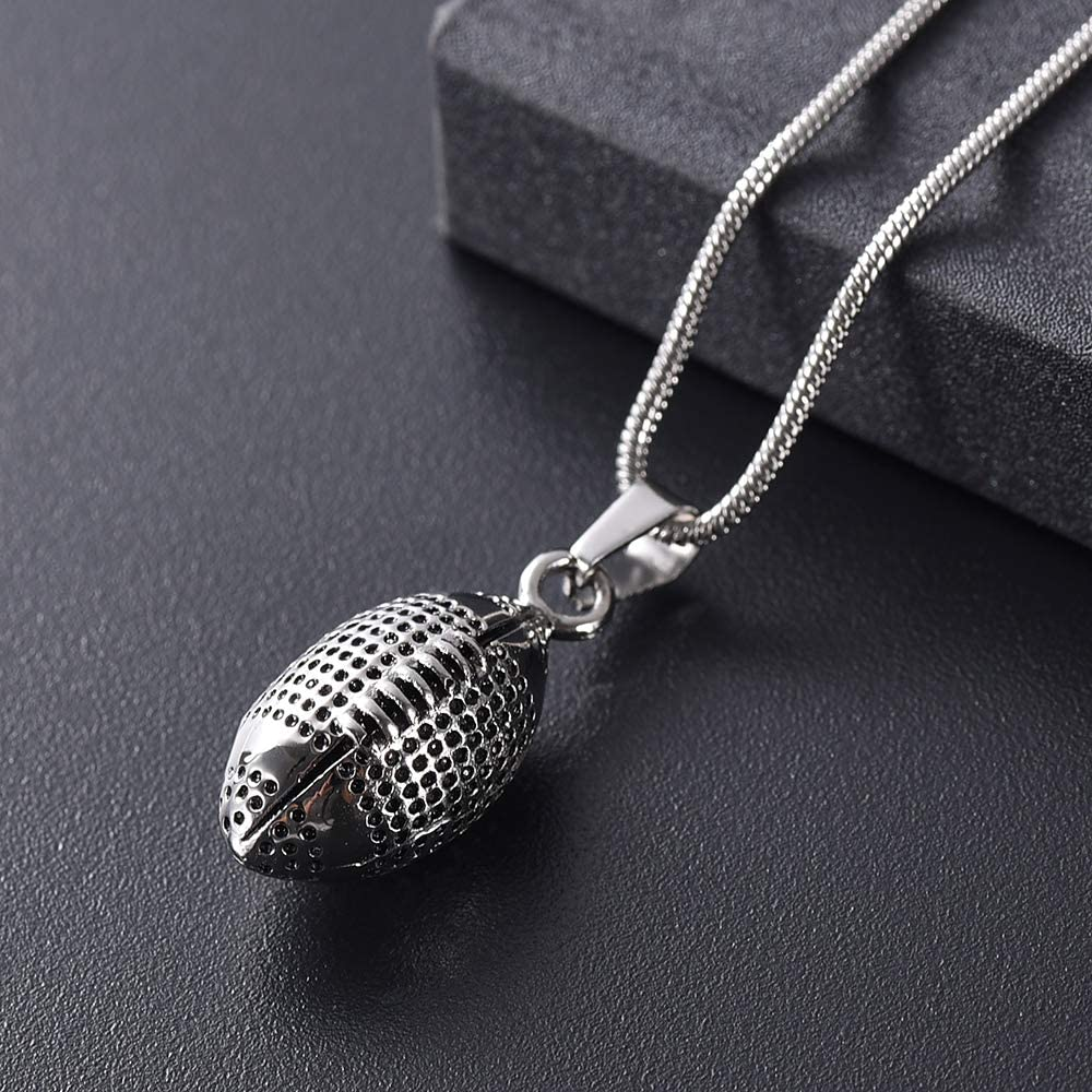 Rugby Stainless Steel Cremation Urn Jewelry Ashes Necklace Keepsake Hold Memory Men/&Boys Sport