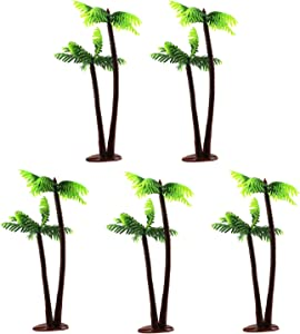 E-outstanding Miniature Coconut Tree 5PCS 13cm Plastic Coconut Palm Trees Mini Plant Pots Bonsai Craft for Micro Landscape Dollhouse Fairy Garden DIY Decor