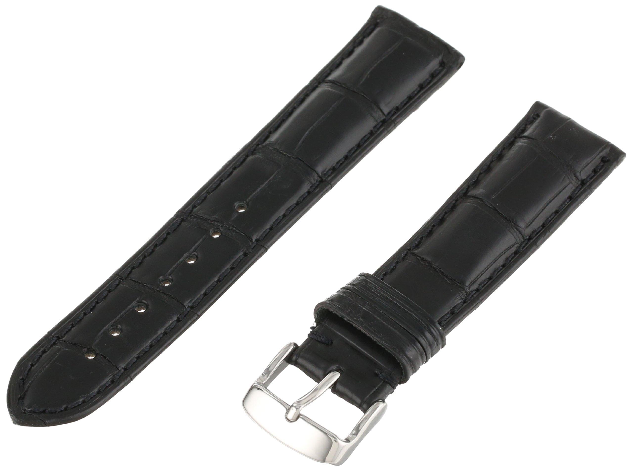 Hadley-Roma Men's MSM824RA-200 20-mm Black Genuine Alligator Leather Watch Strap