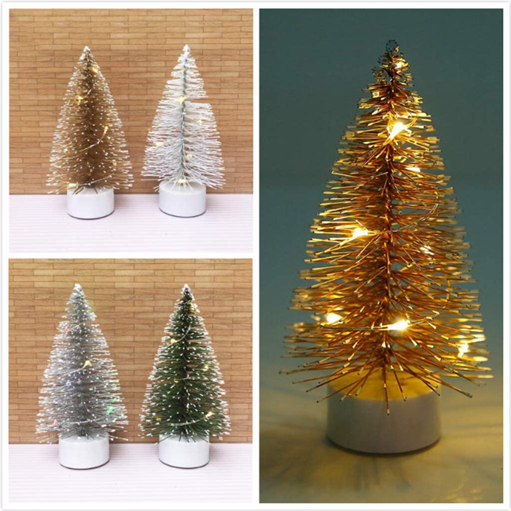 Brown CUTICATE 1:12 Dollhouse Miniature LED Christmas Tree as described