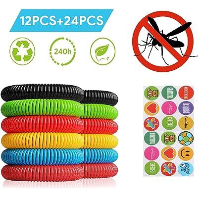 Telgoner Pulsera Antimosquitos, Pulseras Repelentes de Mosquitos, incluye 12 Piezas 100% Naturales Antimosquitos Pulsera y 24 Pegatinas Antimosquitos, Ajuste para Niños Adultos Camping Senderismo
