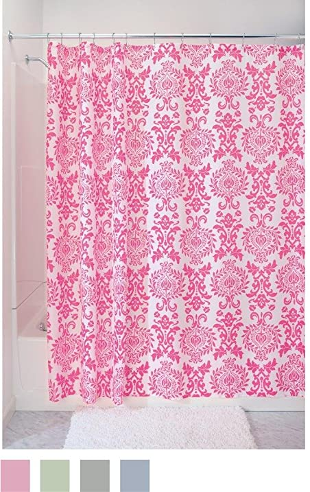 Amazon.com: InterDesign Damask Fabric Shower Curtain, 72 x 72, Hot ...