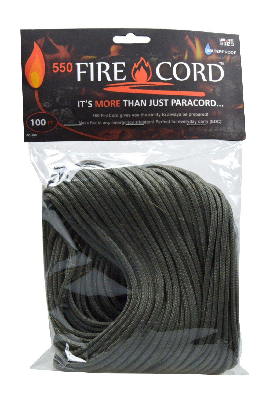 Live Fire Gear(ライブファイヤーギア) 550 Fire Cord(着火剤になる紐) 02-03-550f-0006 フォリッジグリーン 100ft B00R8N4HEC