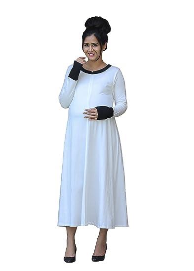 98651d7ebaa3b GRAVIDANZA9 Women Cotton Jersey Stretchable Lurex Patch Maternity Dress  Pregnancy and Nursing Maxi Dress