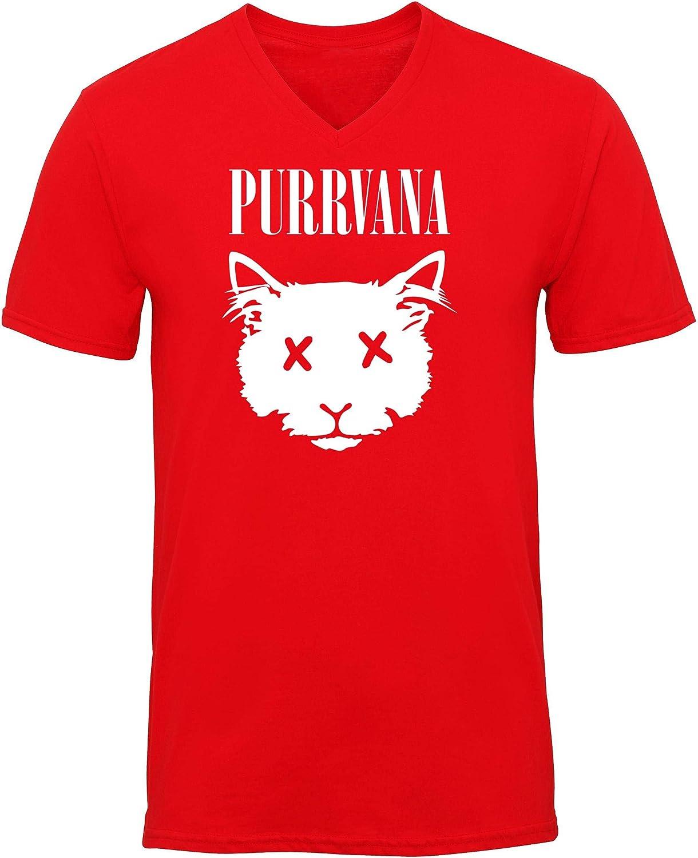 HippoWarehouse Purrvana Grunge Cat Camiseta de Manga Corta Unisex con Cuello en v: Amazon.es: Ropa y accesorios