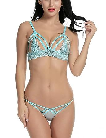 93d531db1e95 Avidlove Women's Sexy Strappy Lingerie Set Open Cup Lace Bra Panty Set Lace  Babydoll Bodysuit Set