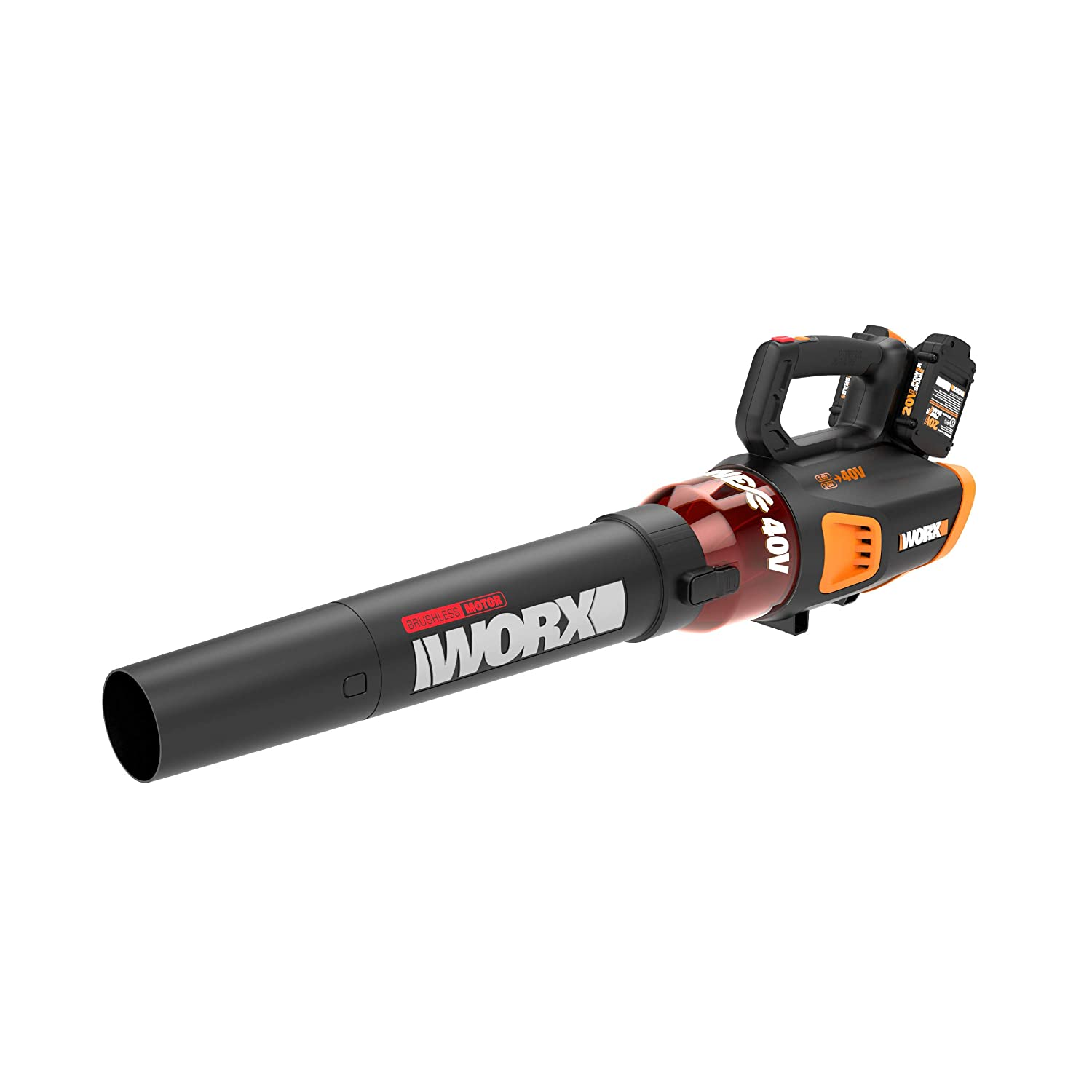 WORX WG584 40V (2.5Ah) Power Share TURBINE Blower, 430 CFM, 2 Batteries and Dual Charger Included
