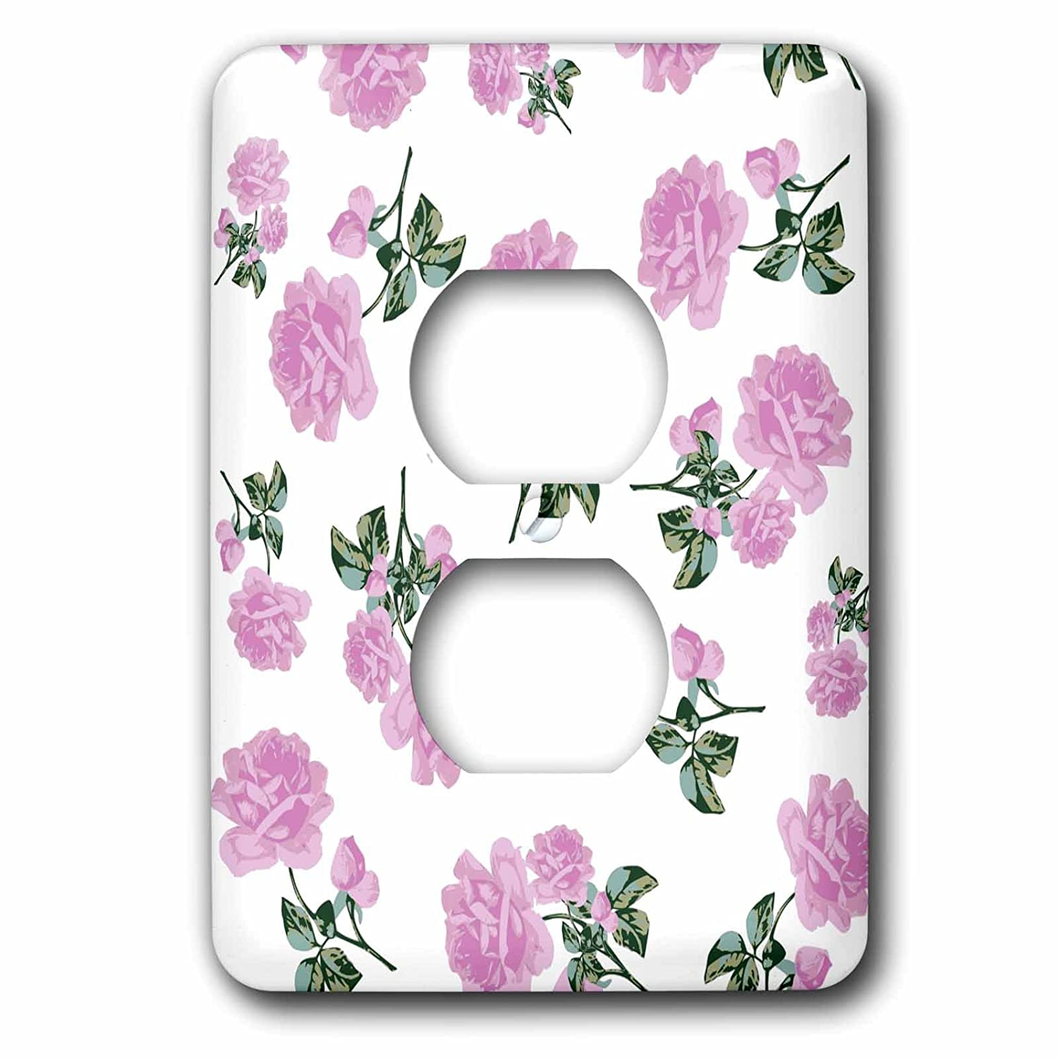 3dRose lsp/_56631/_6 Shabby Chic Light Pink Roses Vintage Floral Pattern on White Outlet Cover