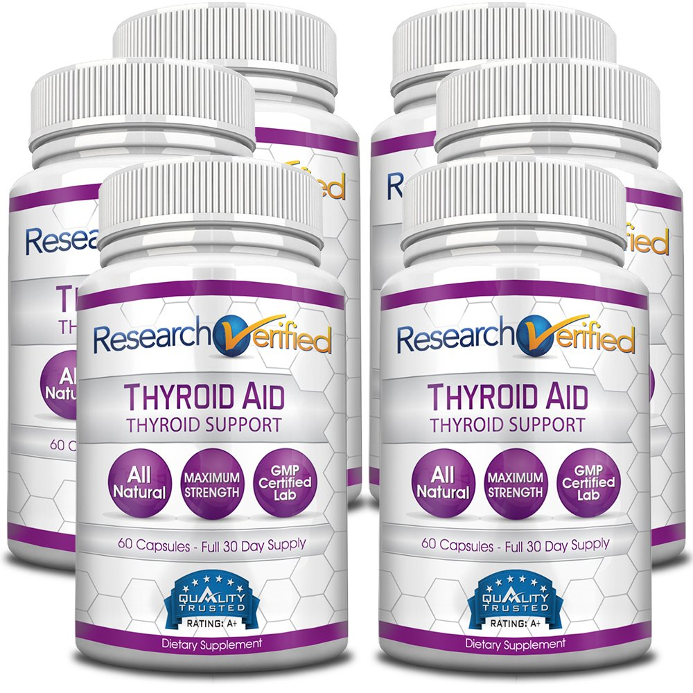 Research Verified Thyroid Aid - With Iodine, Vitamin B12, Selenium, Coleus Forskholii, Kelp, Ashwaghnada & More - 100% Pure, No Additives or Fillers - 100% Money Back Guarantee - 6 Months Supply