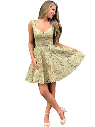 f437c5bbb141 Graceprom Women's Gold Lace Homecoming Dress Sexy V Neck Backless Short  Prom Dress 2