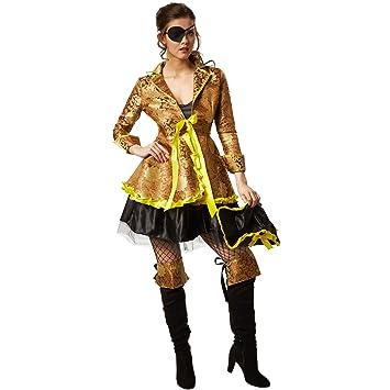 dressforfun Disfraz para mujer corsaria elegante | Vestido con tul | Chaqueta con volantes | Incl. sombrero, parche y botines (S | No.