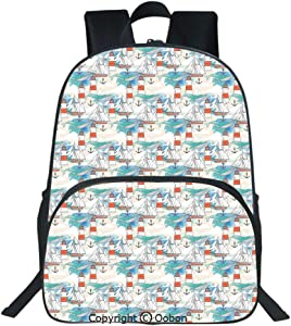Oobon Kids Toddler School Waterproof 3D Cartoon Backpack, Abstract Whale Anchor and Boats Pattern Sky Inspired Background Nautical Design Decorative, Fits 14 Inch Laptop