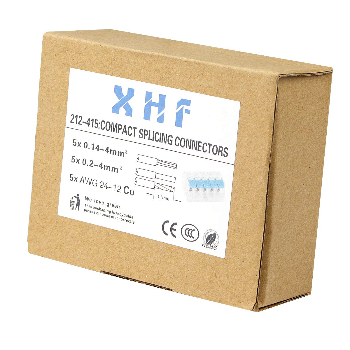 XHF 221-414 Lever-nuts 4-wire 4 Conductor Compact Splicing Connectors 10 Pcs