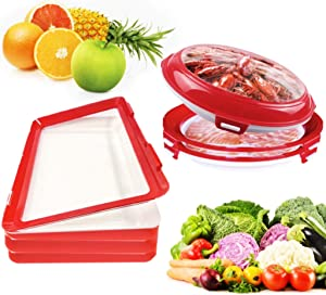 Food Plastic Tray,Food Vegetable Storage Containers with Lids for Fridge,Food Saver Containers For Vacuum Seal,Superior for Keeping Fresh&Saving Space,Dishwasher & Freezer Safe(2pcs) rectangle