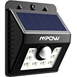 Foco Solar 8 LED Versión Mejorada Lámpara Solar Mpow Impermeable con Senosr de Movimiento, Lámpara de Pared Jardín para Patio, Terraza, Patio, Jardín, Casa, Camino de Entrada, Escaleras, Pared Exterior
