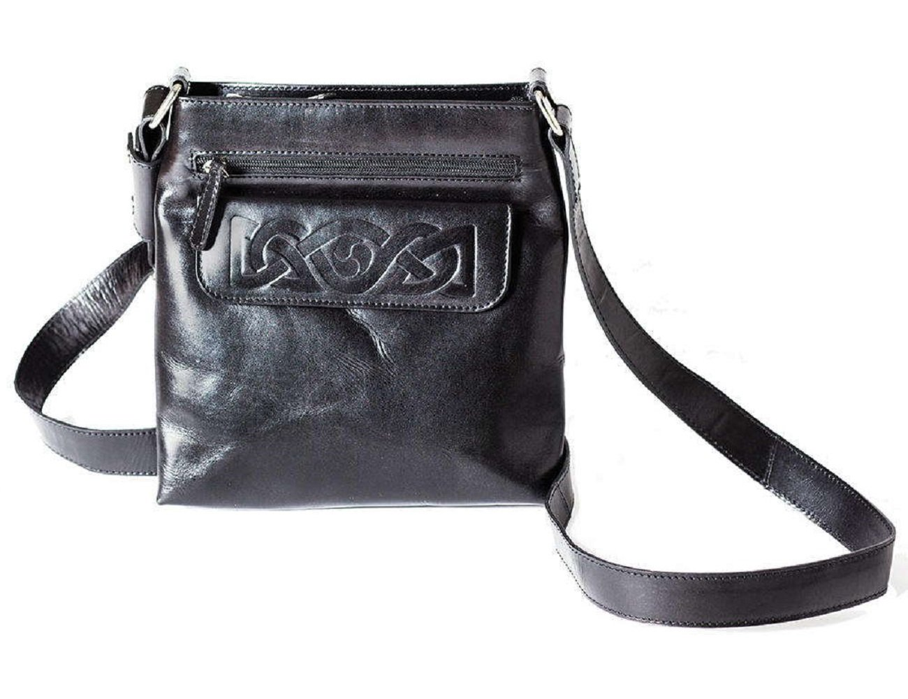 Crossbody Bags for Women Black Celtic Embossed Leather Irish Made by Biddy Murphy