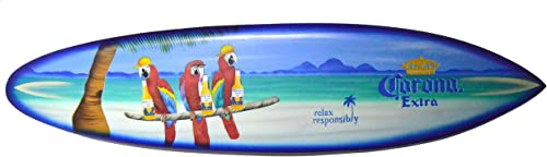 Beach Parrot Happy Hour Hard Wood Handmade AIRBRUSH ART Corona Beer Palm Tree 39″ Surfboard Sign Wall Plaque Art