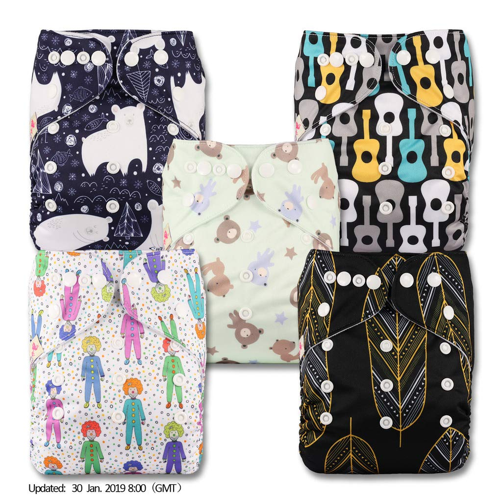 with 5 Bamboo Charcoal Inserts Patterns 517 Set of 5 Littles /& Bloomz Fastener: Popper Reusable Pocket Cloth Nappy