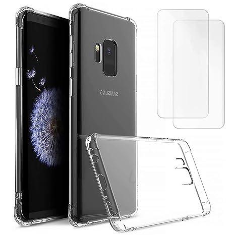 DYGG Compatible con Funda para Samsung Galaxy s9 Plus/s9+, Carcasa Forro Transparente TPU Silicona Flexible Case+[2* Protector de Pantalla]