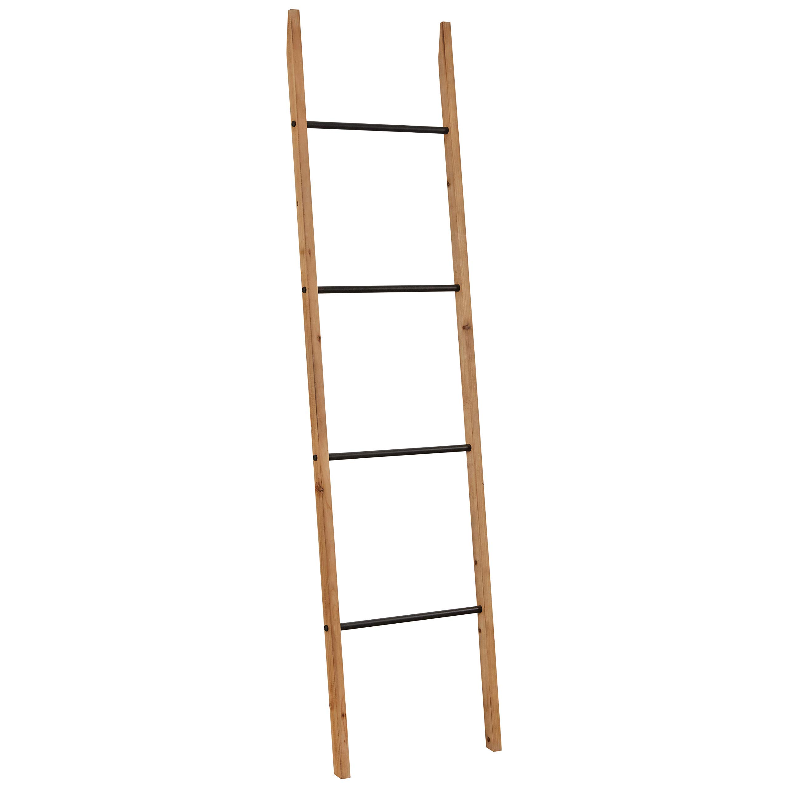 Rivet Contemporary Fir Decorative Blanket Ladder with Iron Rungs - 71.65''H, Black and Natural Wood (Renewed)