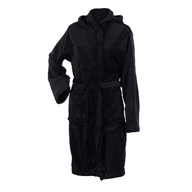 Ladies Soft Coral Fleece Hooded Bathrobe Plain Wrap Around Dressing ...