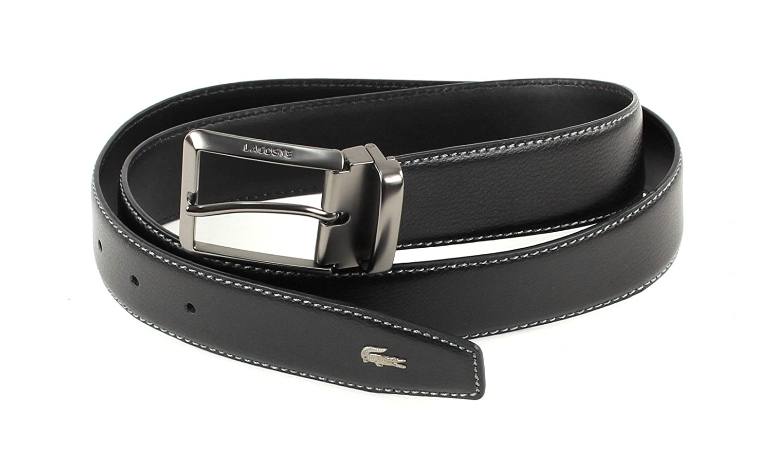 LACOSTE Curved Belt Stitched Edges W85 Schwarz
