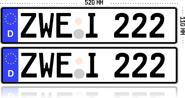 2 X Kfz Kennzeichen Autokennzeichen Wunschkennzeichen Nummernschild Pkw Kennzeichen Fahrradträger Anhänger Reflektierend Individualisierbar Auto