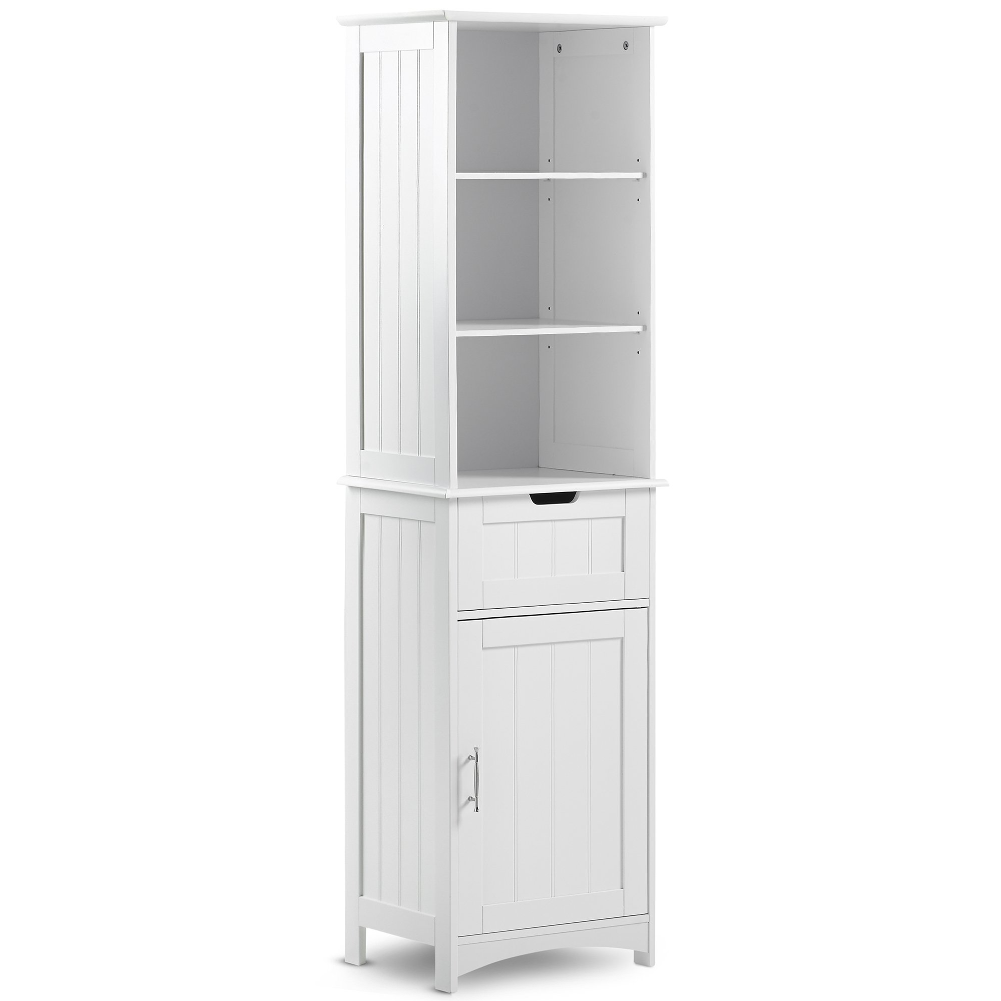 VonHaus Tall Bathroom Storage Cabinet Unit with 5 Shelves and Drawer - Classic White Finish with Chrome Handle (Includes All Hardware)