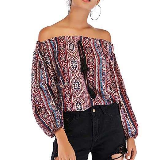 8def402a923910 Fanteecy Women s Ethnic Printed Tops Sexy Off Shoulder Boho Long Sleeve  Blouse Casual Loose Fringed T