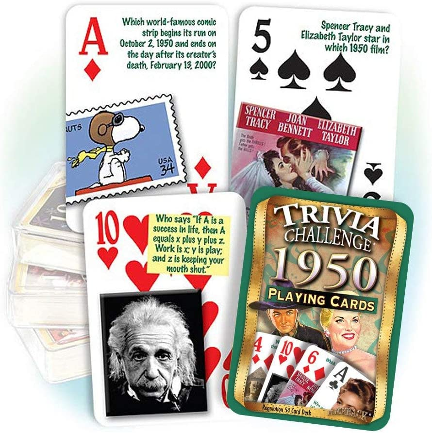 65th Birthday Gift or 65th Anniversary Gift 1950 Trivia Playing Cards