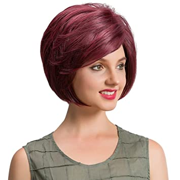 Huphoon Wigs For Women Short Hair With Bangs Mixed Brown Color Curly Fiber Cosplay Full Wig