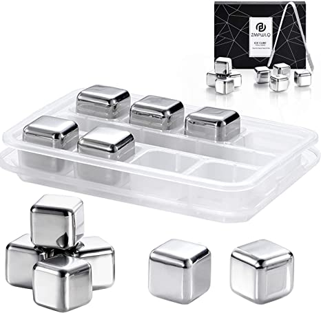Whiskey Stones Stainless Steel Ice Cubes Set Reusable With Silicone Head Tongs