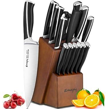 Emojoy Knife Set, 15-Piece Kitchen Knife Set with Block Wooden, Black Handle for Chef Knife Set, German Stainless Steel Cutlery Knife set
