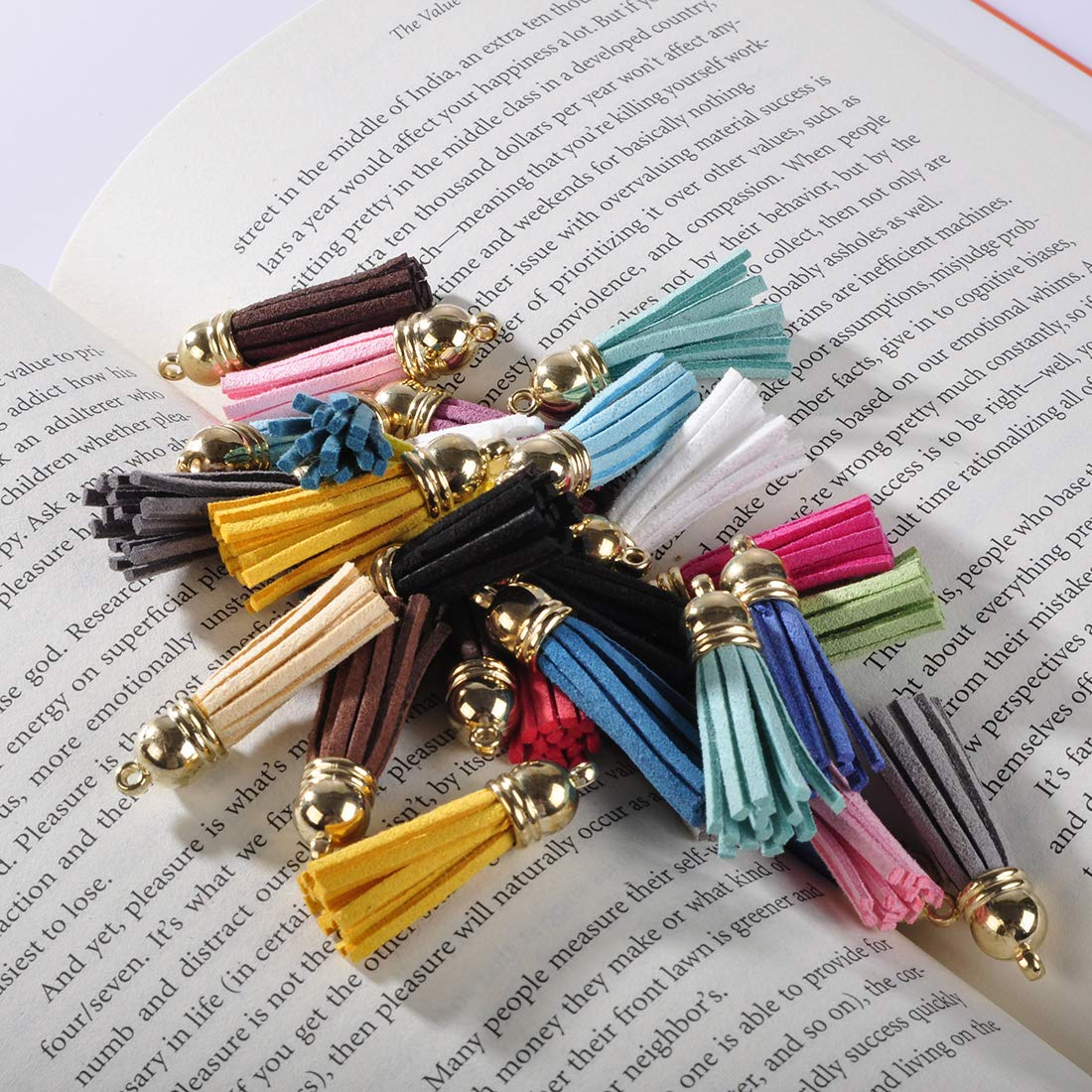 Ciaoed 60 Pieces 40mm Leather Tassel Pendants Faux Suede Tassel with Caps and 20 Pieces Key Ring DIY Accessories with 20 Colors