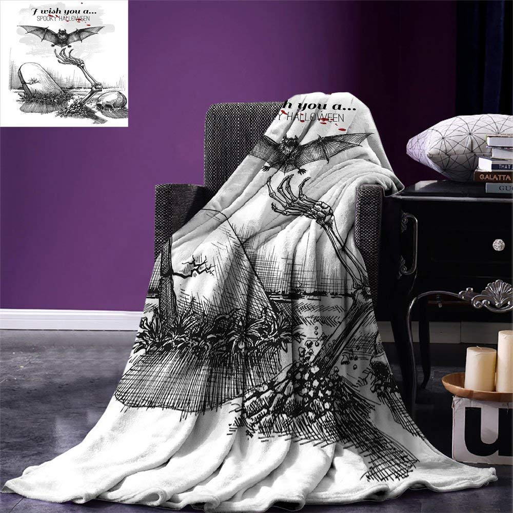 color08 60 x50  VAMIX Halloween Warm Microfiber All Season Blanket Funny Cartoon Design with Pumpkins Witches Hat Ghosts Graveyard Full Moon Cat Print Artwork Image£¬Multicolor, Multicolor, Blanket